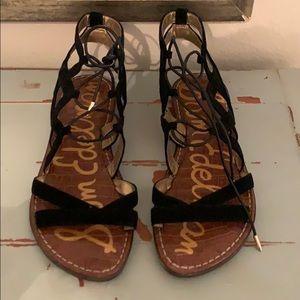 Sam Edelman Gemma black lace-up sandals. Size 7